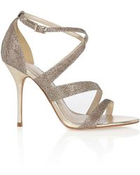 Karen Millen Glitter Fabric Sandal - Lyst