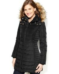 Jones New York Fauxfurtrim Hooded Downblend Puffer Coat - Lyst
