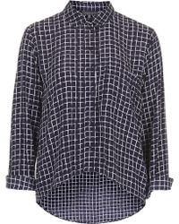 Topshop Peite Window Pane Print Curved Hem Shirt - Lyst