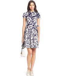 Diane von Furstenberg Dvf Scarlet Pleated Cotton Shirt Dress - Lyst