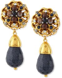 Jose & Maria Barrera 24K Plated Navy Jade Clip-On Earrings - Lyst
