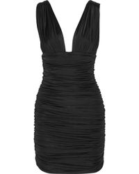 Balmain Ruched Stretchsatin Mini Dress - Lyst