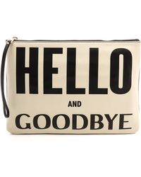 Karen Walker Hello Goodbye Clutch Creamblack - Lyst