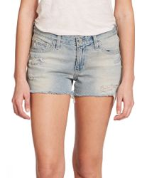 AG Adriano Goldschmied Bonnie Distressed Cut-Off Denim Shorts - Lyst