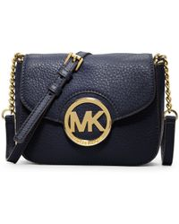 Michael Kors Fulton Leather Small Crossbody blue - Lyst