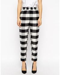 Asos Fluffy Peg Pants In Gingham Check black - Lyst