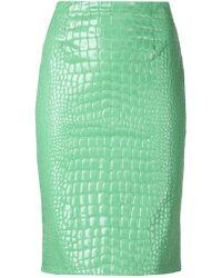 Moschino Cheap & Chic Embossed Crocodile Effect Skirt - Lyst