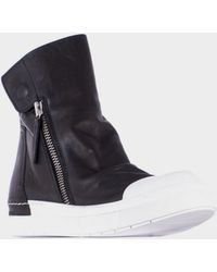 Cinzia Araia Black Leather High Sneakers With Zip - Lyst