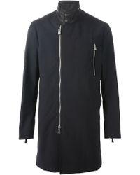 Emporio Armani Zipped Mid-Length Coat - Lyst