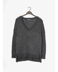 Vince Metallic Textured V-Neck Sweater - Lyst