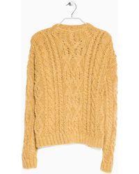 Mango Cableknit Woolblend Sweater - Lyst