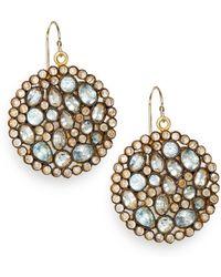 Nunu - Blue Topaz Jeweled Disc Earrings - Lyst