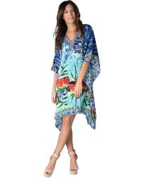 Yuka Beach - Turquoise Floral Print Cover Up Large/x-large - Lyst