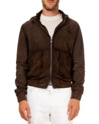 Berluti Hooded Suede Bomber Jacket - Lyst