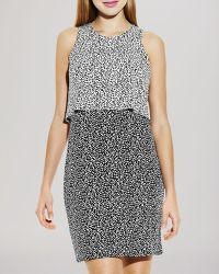 Vince Camuto Sleeveless Dot Print Layered Dress - Lyst
