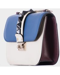 """Valentino White Blue And Bordeaux Leather """"Lock"""" Small Bag blue - Lyst"""
