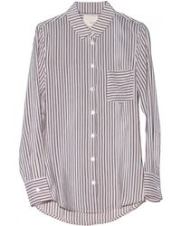 Band Of Outsiders Striped Silk Crepe Top - Lyst