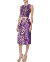 J. Mendel Floralprint Peplum Dress - Lyst