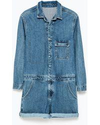 Zara Short Denim Jumpsuit - Lyst