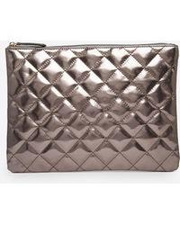 Asos Metallic Quilted Clutch Bag - Lyst