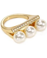 Aqua - Sybil Triple Imitation-pearl Pavé Ring - Lyst