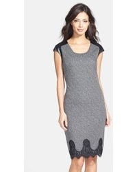 Maggy London Faux Leather & Lace Trim Tweed Sheath Dress - Lyst