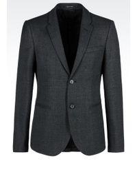 Emporio Armani Jacket In Basketweave Effect Wool - Lyst