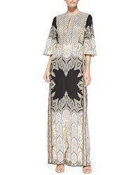 Etro Flared-Sleeve Beaded Paisley Gown - Lyst