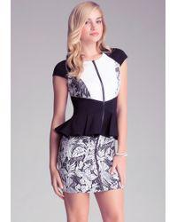 Bebe Jacquard Colorblock Dress - Lyst
