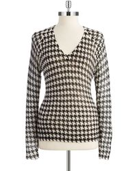 Michael by Michael Kors Houndstooth Mohair Sweater - Lyst
