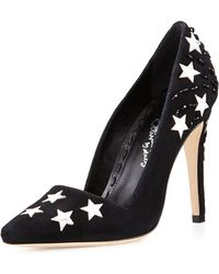 Alice + Olivia Magic Embellished Suede Pump - Lyst