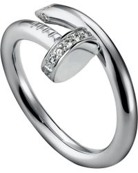 Cartier Juste Un Clou 18ct White-gold and Diamond Ring - Lyst