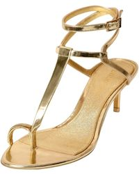 Emilio Pucci 55Mm Mirrored Leather Sandals - Lyst