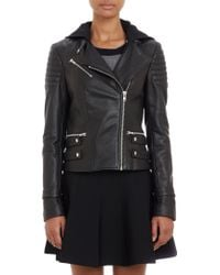 A.L.C. Leather Night Hooded Moto Jacket - Lyst