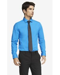 Express Fitted 1mx Spread Collar Shirt - Lyst