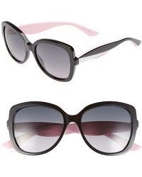 Dior Women'S 'Envol 2' 55Mm Retro Sunglasses - Black/ White/ Pink - Lyst