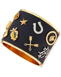Tory Burch Delora Leather Charm Cuff Bracelet - Lyst