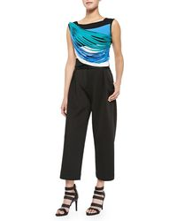 Ohne Titel - Neoprene Pleated Wide-leg Pants - Lyst
