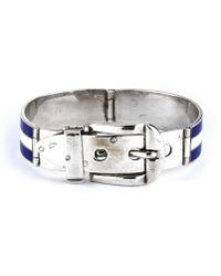 Gucci Pre-owned Sterling Silver Blue and White Buckle Bracelet - Lyst
