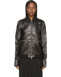 Hood By Air - Black Leather Logo Embossed Bomber Jacket - Lyst
