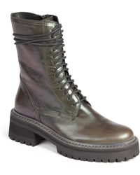 Ann Demeulemeester Leather Midcalf Combat Boots - Lyst