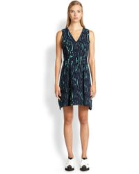 Proenza Schouler Flocked Printed Crepe Dress - Lyst