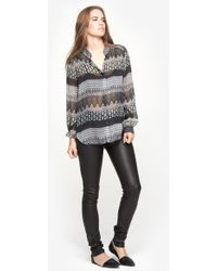 L'Agence L/S Band Collar Blouse - Lyst