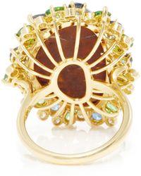 Pamela Huizenga - 18K Gold Ring With Boulder Opal, Tsavorites, Sapphires, And Diamonds - Lyst
