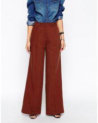 Asos Premium Wide Leg Crepe Trousers - Lyst