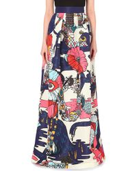 Mary Katrantzou Satin Box Pleat Skirt - Lyst