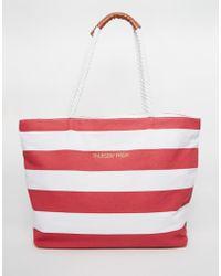 Thursday Friday - Canvas Striped Beach Bag - Lyst