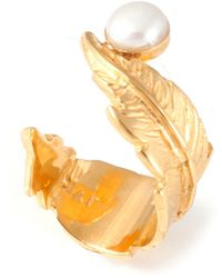 Leivan Kash - Feather Pearl Open Ring Gold - Lyst