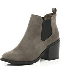 River Island Dark Brown Block Heel Chelsea Ankle Boots - Lyst