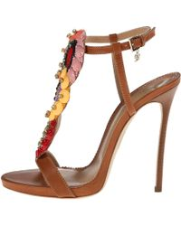 DSquared² T-Strap Heeled Sandal - Lyst